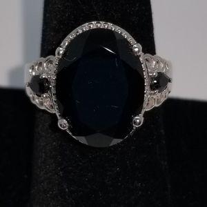 Thai Black Spinel Ring in Platinum Bond Brass Sz 8